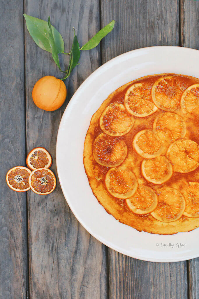 Close up of the top view of a upside down orange cake