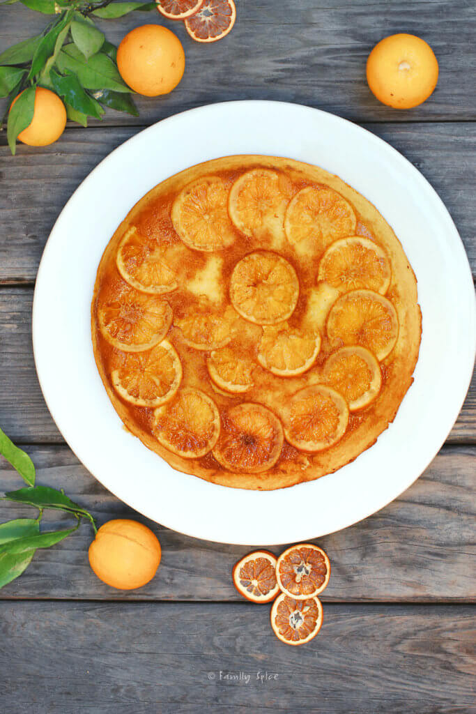 Top view of a upside down orange cake