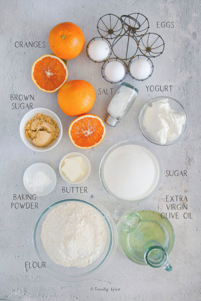 Ingredients needed and labeled to make upside down orange cake