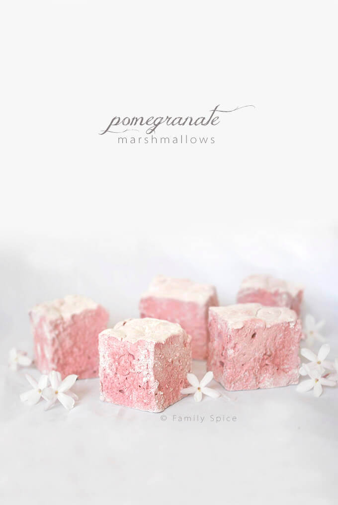 Homemade pink marshmallows with pomegranate by FamilySpice.com