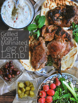 Grilled Yogurt Marinated Leg of Lamb by FamilySpice.com