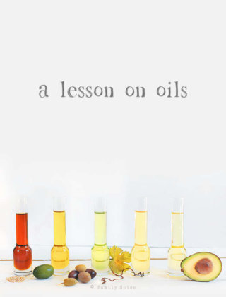 A collage of oils: sesame oil, extra virgin olive oil, grape seed oil, canola oil and avocado oil -- FamilySpice.com