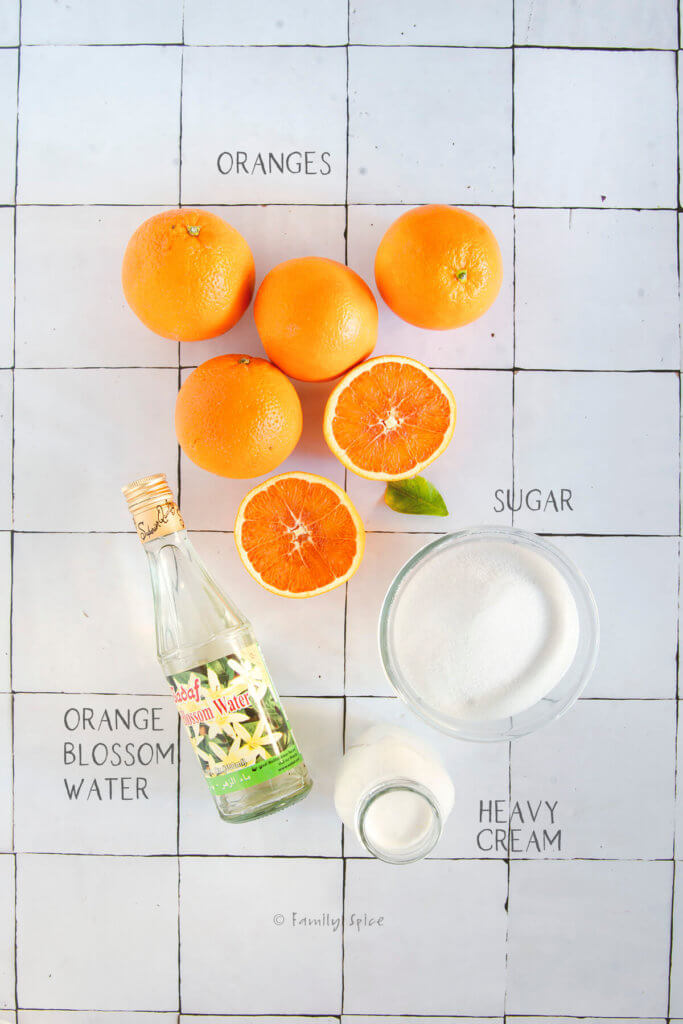 Ingredients labeled and needed for orange sherbet