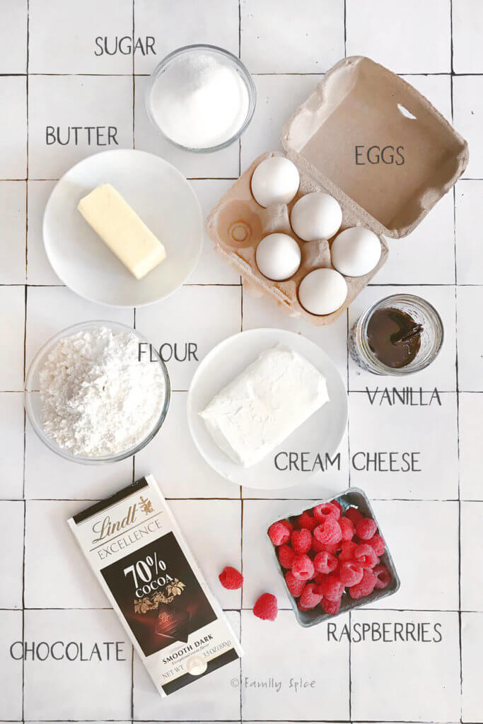 ingredients to make raspberry cheesecake brownies