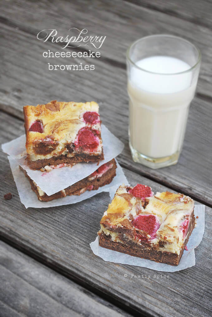 Raspberry Cheesecake Brownies by FamilySpice.com