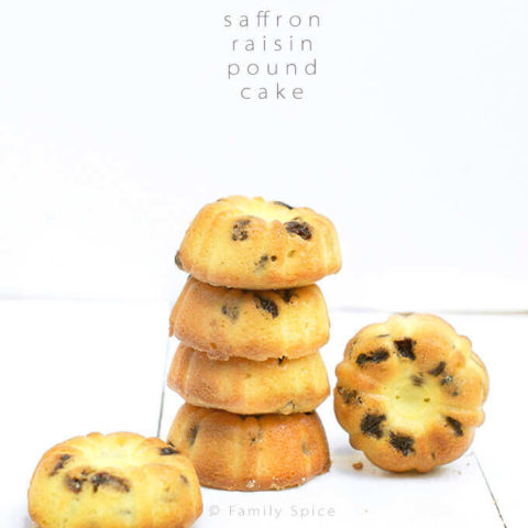 Buttery Saffron Raisin Pound Cake