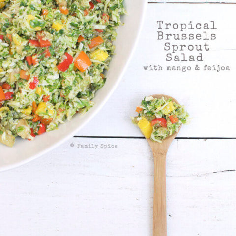 Brussels Sprout Salad with Mango and Feijoa