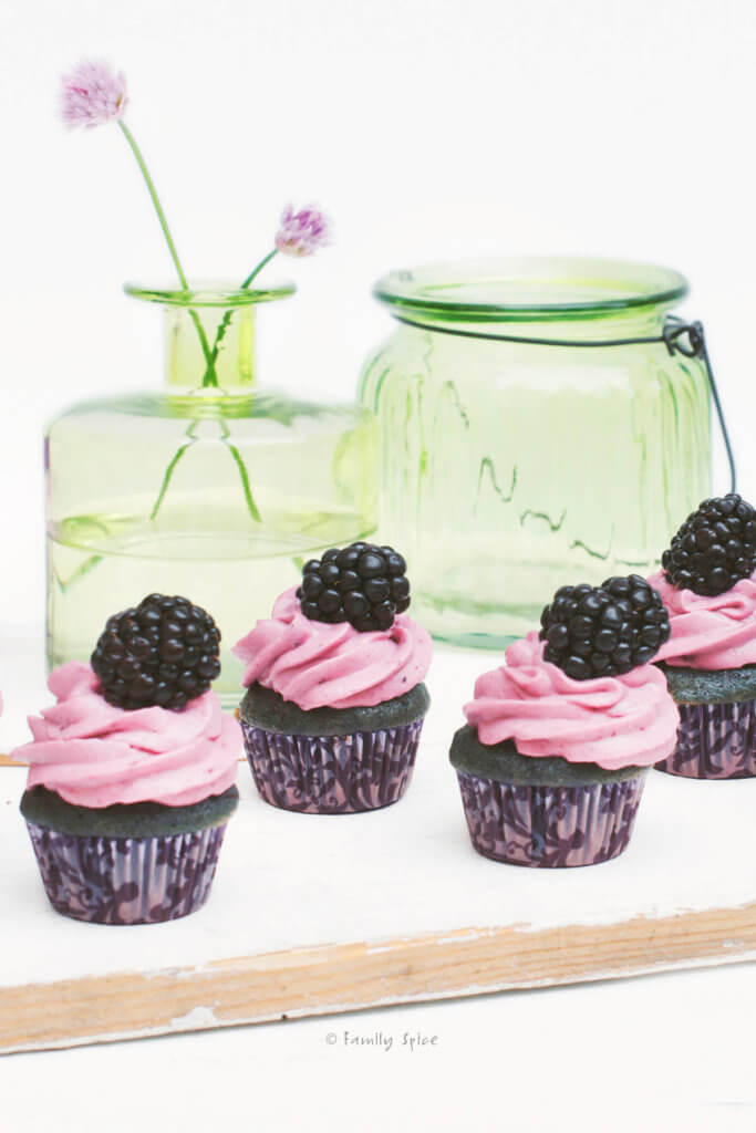 Several mini blackberry cupcakes on a white background with green glass bottles behind it