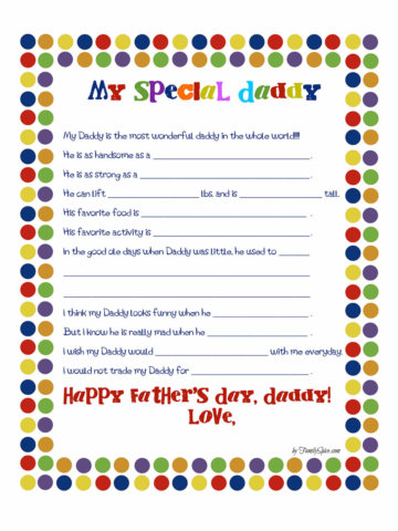 Image of a free printable father's day worksheet