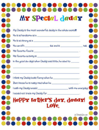 Fathers Day All About Dad Worksheet by FamilySpice.com