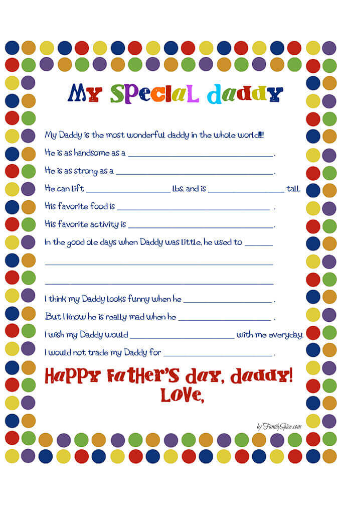 graphic about Father's Day Fill in the Blank Printable titled Fathers Working day Worksheet