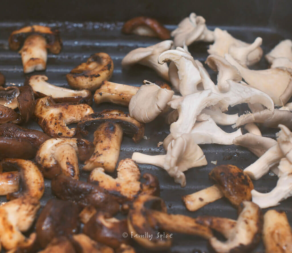 Cooking oyster mushrooms on a grill pan