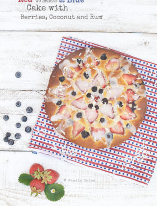 Red, White and Blue Cake with Berries, Coconut and Rum
