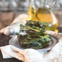 Baked Spicy Swiss Chard Chips