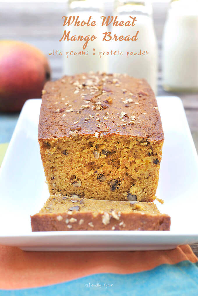 Whole Wheat Mango Bread with Protein Powder and Pecans by FamilySpice.com