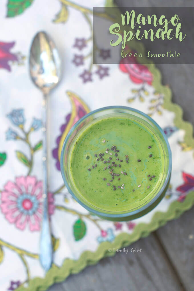 Mango Spinach Green Smoothie by FamilySpice.com