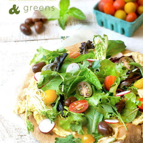 Whole Wheat Pizza with Hummus & Greens by FamilySpice.com