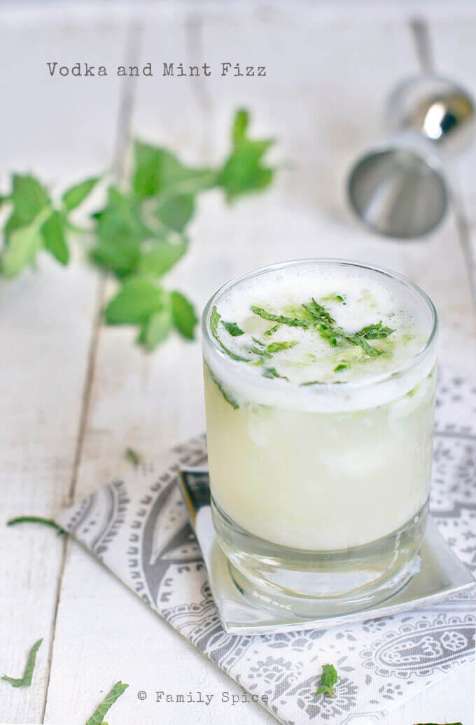 Vodka and Mint Fizz with Sekanjabin (Persian Mint Syrup) by FamilySpice.com