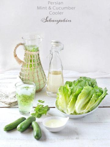 Persian Mint & Cucumber Cooler (Sekanjabin) by FamilySpice.com