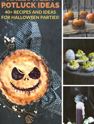 A collage of halloween potluck recipes by FamilySpice.com