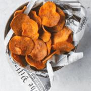 Pinterest image for baked sweet potato chips