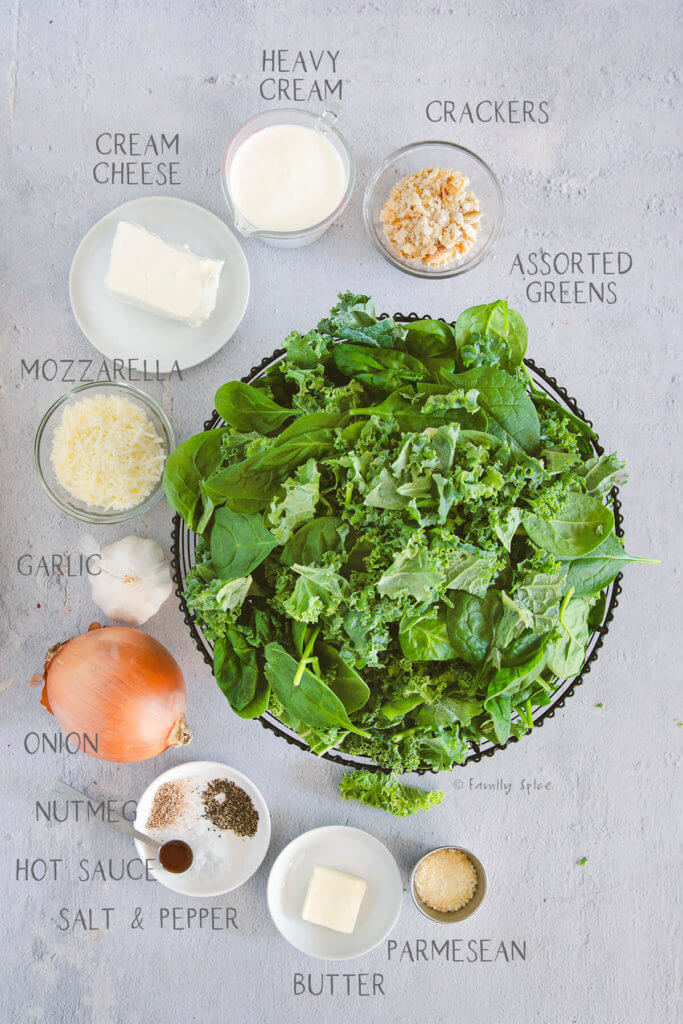 Top view of ingredients labeled and needed to make creamed spinach greens