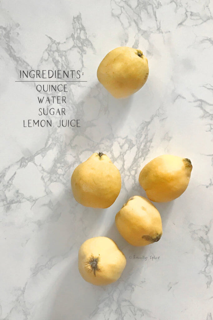 image of fresh quince with text saying ingredients