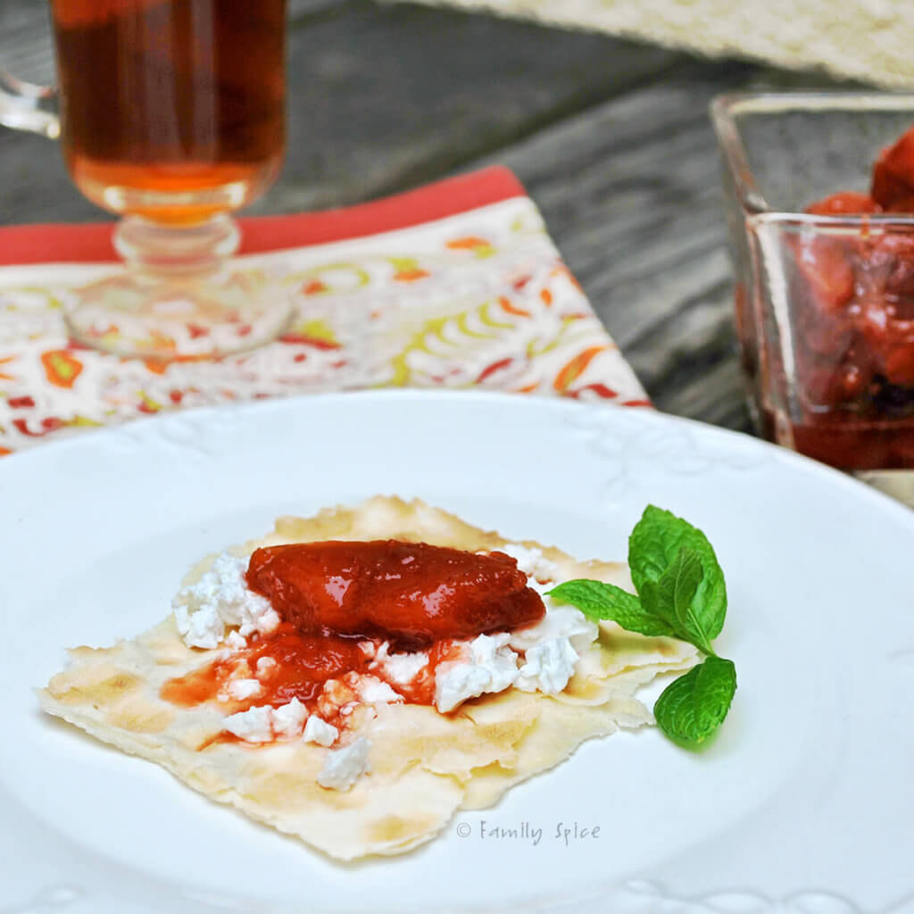 A piece of lavash with feta cheese and quince jam