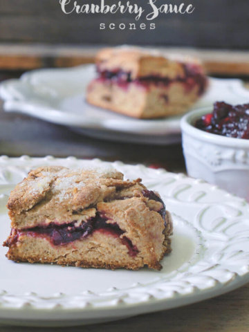 Got leftover cranberry sauce? No worries! They are perfect in these scrumptious whole wheat scones - just in time for the holidays! -- FamilySpice.com