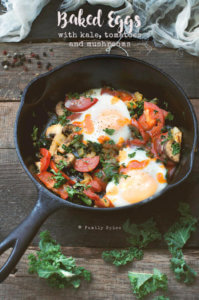 Baked Eggs with Kale, Tomatoes and Mushrooms by FamilySpice.com