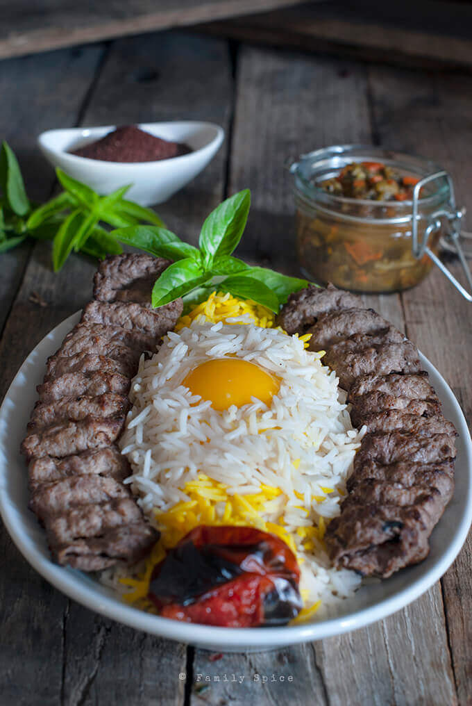 Chelo Kabab: Persian Kabob-e Koobideh (Ground Beef Kabob) with Egg by FamilySpice.com