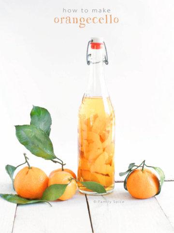 A bottle of Orangecello and Orange Infused Vodka by FamilySpice.com