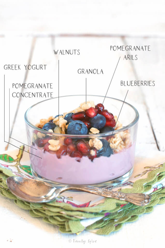 Ingredients labeled in a pomegranate parfait