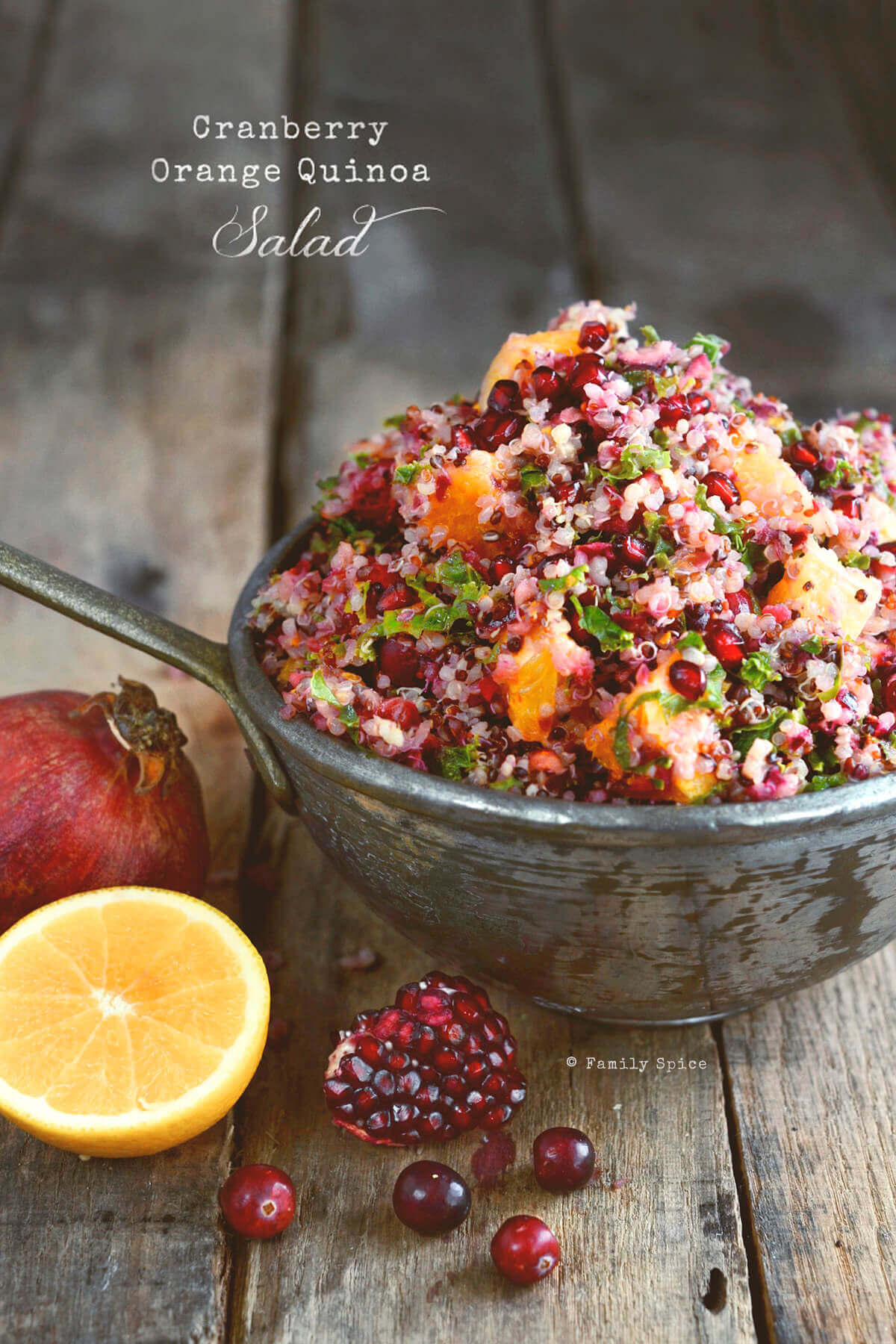 Cranberry Quinoa Salad with Orange, Mint and Kale - Family Spice