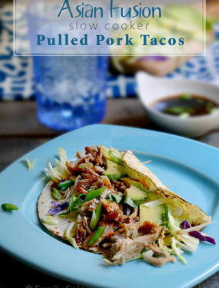 Asian Fusion Slow Cooker Pulled Pork Tacos