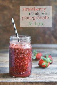 Pomegranate Strawberry Drink with Kale by FamilySpice.com