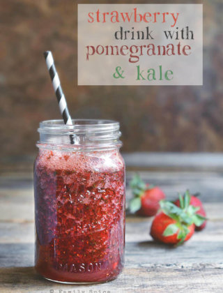 Pomegranate Strawberry Drink with Kale by FamilySpice.com