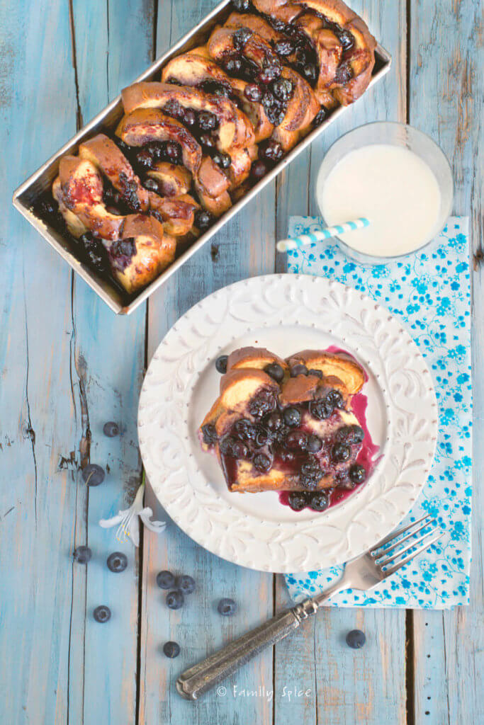 Top view of blueberry stuff french toast