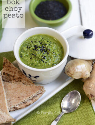 East Meets West: Bok Choy Pesto with Cilantro and Black Sesame Seed