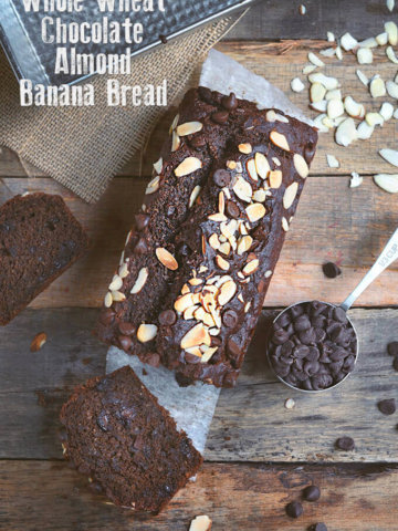 Skinny Whole Wheat Chocolate Almond Banana Bread by FamilySpice.com