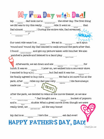 Image of a father's day mad libs printable