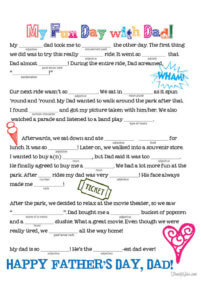 picture relating to Mad Libs Printable identified as Fathers Working day Insane Lib Cost-free Printable - Spouse and children Spice