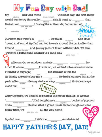 Fathers Day Mad Lib by Family Spice.com