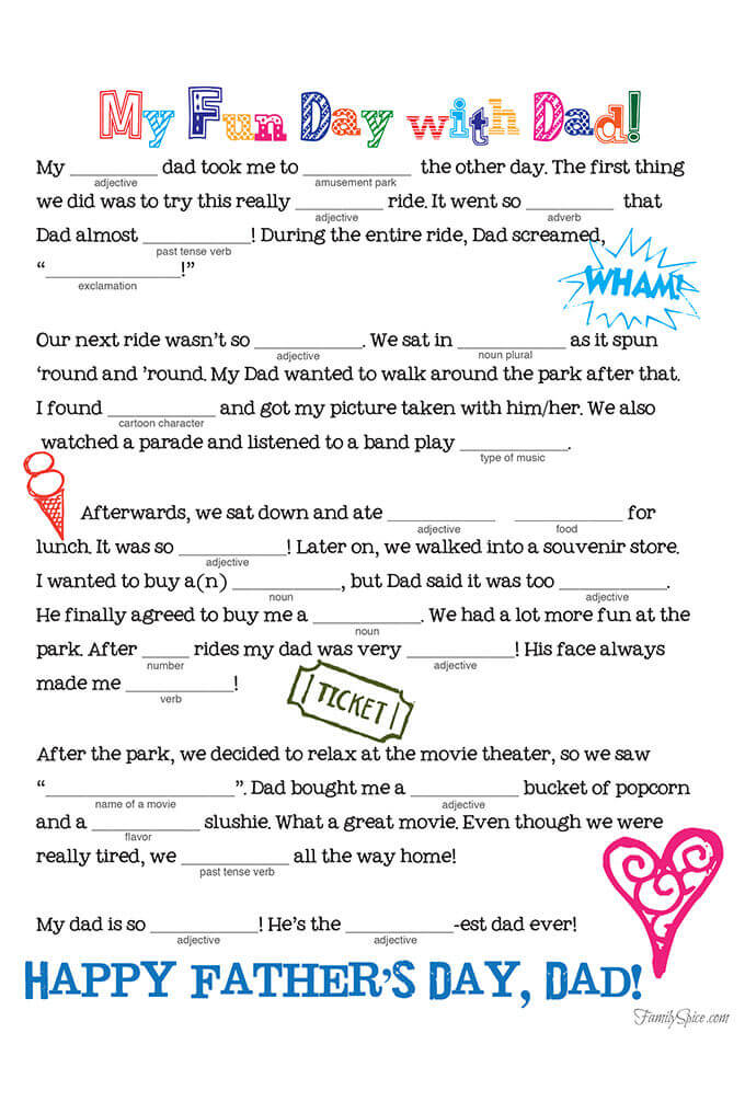 photograph regarding Printable Mad Libs Sheets for Adults named Fathers Working day Crazy Lib Free of charge Printable - Household Spice
