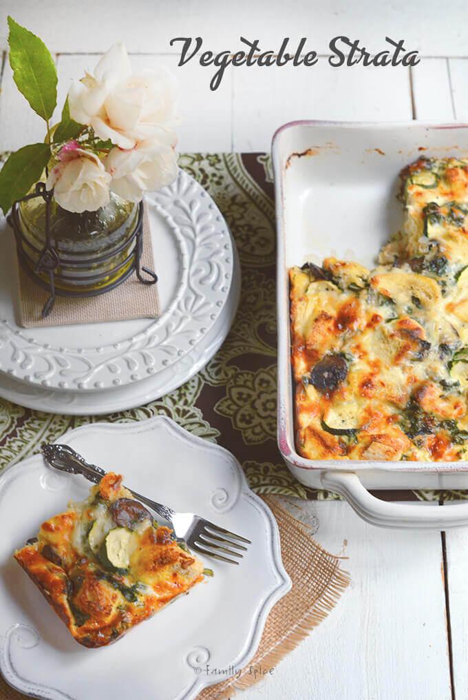 Vegetable Strata from E-Book: Terrific Twelve: Newlywed Recipes by Stephanie Weaver --- FamilySpice.com