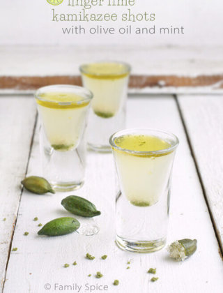 Finger Lime Kamikaze Shots with Mint and Olive Oil by FamilySpice.com