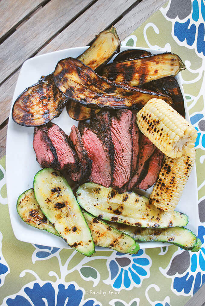Grilled Black Pepper Coffee Crusted Beef Tenderloin with Vegetables by FamilySpice.com