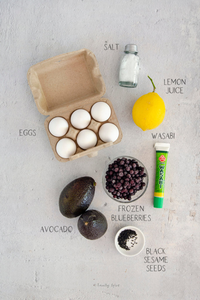 Ingredients needed and labeled to make halloween deviled eggs