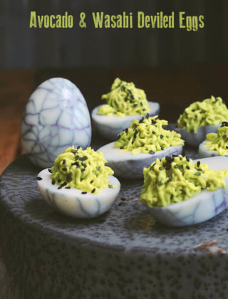 Spider Eggs: Avocado and Wasabi Deviled Eggs