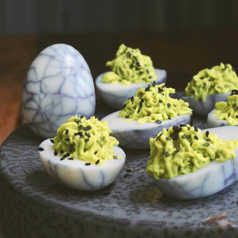 Spider Eggs Avocado And Wasabi Halloween Deviled Eggs Family Spice
